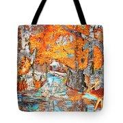 Autumn Deer Birch Background Tote Bag