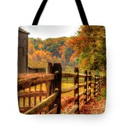 Autumn Fence Posts Scenic Tote Bag