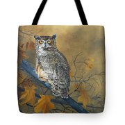Autumn Highlights - Great Horned Owl Tote Bag