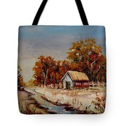 Autumn House By The Stream Tote Bag
