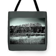 Autumn In The Wetlands - Black And White Tote Bag