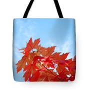 Autumn Landscape Fall Leaves Blue Sky White Clouds Baslee Tote Bag