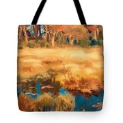 Autumn Landscape With Fox Tote Bag