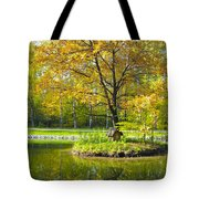 Autumn Landscape With Red Tree Tote Bag