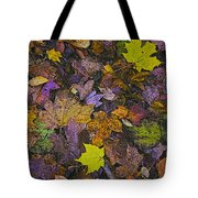 Autumn Leaves At Side Of Road Tote Bag