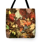 Colorful Autumn Leaves In Blue Green Red Yellow Orange Tote Bag