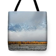First Autumn Snow In The Mountains Tote Bag