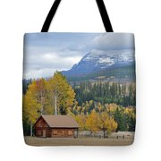 Autumn Mountain Cabin In Glacier Park Tote Bag by Bruce Gourley