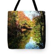 Autumn Park With Bridge Tote Bag