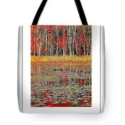 Autumn Pond And Lily Pads Poster Tote Bag