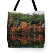 Autumn Reflections And Cabin On Baker Pond Tote Bag