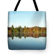 Autumn Reflections At Belmont Lake Tote Bag
