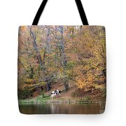 Autumn Reflections Cow Farm Tote Bag