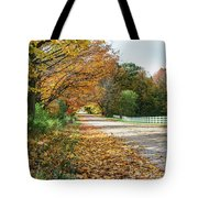 Autumn Road With Fence  Tote Bag