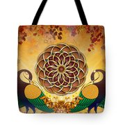 Autumn Serenade - Mandala Of The Two Peacocks Tote Bag by Bedros Awak