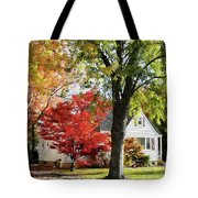 Autumn Street With Red Tree Tote Bag