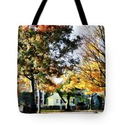 Autumn Street With Yellow House Tote Bag