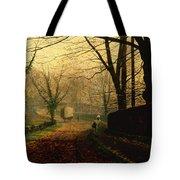 Autumn Sunshine Stapleton Parknear Pontefract  Tote Bag by John Atkinson Grimshaw