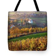 Autumn View Of Church On The Rural Hills Tote Bag