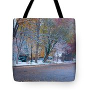Autumn Winter Street Light Color Tote Bag