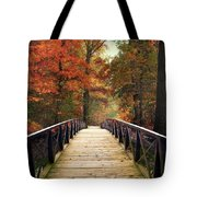 Autumn Woodland Crossing Tote Bag