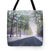 Avenue Of The Pines-winter Tote Bag