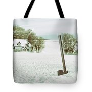 Axe In Snow Scene Tote Bag