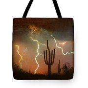 Az Saguaro Lightning Storm Tote Bag