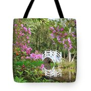 Azaleas And Bridge In Magnolia Lagoon Tote Bag