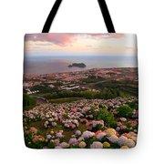 Azorean Town At Sunset Tote Bag