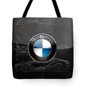 B M W  3 D  Badge Over B M W I8 Silver Blueprint On Black Special Edition Tote Bag