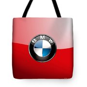 B M W Badge On Red  Tote Bag