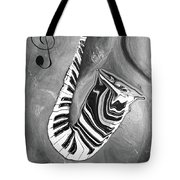 Piano Keys In A Saxophone B/w - Music In Motion Tote Bag
