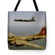 B17g And B52h In Flight Tote Bag