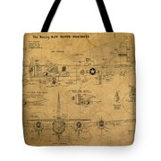 B29 Superfortress Military Plane World War Two Schematic Patent Drawing On Worn Distressed Canvas Tote Bag