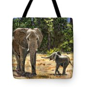 Baby And Mom Elephant Painting Tote Bag