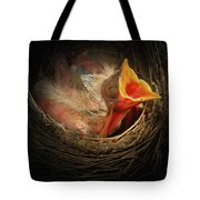 Baby Bird In The Nest With Mouth Open Tote Bag