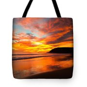 Baby Blue And Tangerine Sky Tote Bag