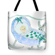 Baby Boy With Bunny And Birds Tote Bag