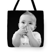 Baby Covering Mouth With Hands, C.1950s Tote Bag