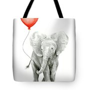 Baby Elephant Watercolor Red Balloon Tote Bag