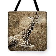 Baby Giraffe In Grasses Tote Bag