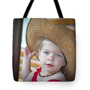 Baby Girl Wearing Straw Hat Tote Bag