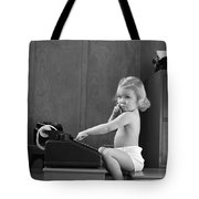 Baby Girl With Adding Machine, C.1940s Tote Bag
