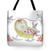 Baby Girl With Bunny And Birds Tote Bag