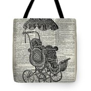 Baby Pram Over A Vintage Dictionary Page Tote Bag by Anna W
