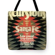 Back East Xcursions - Santa Fe, Mexico - Indian Detour - Retro Travel Poster - Vintage Poster Tote Bag