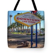 R.i.p. Back Of The Welcome To Downtown Las Vegas Sign Day Tote Bag