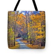 Back Road Fall Foliage Tote Bag