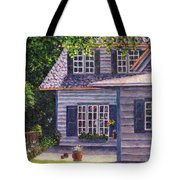 Back Yard With Flower Pots Tote Bag